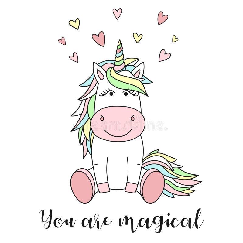 Vektorbilden av en gullig enhörning med hjärtor och inskriften är du magisk Begrepp av ferie, baby shower, födelsedag, parti, stock illustrationer