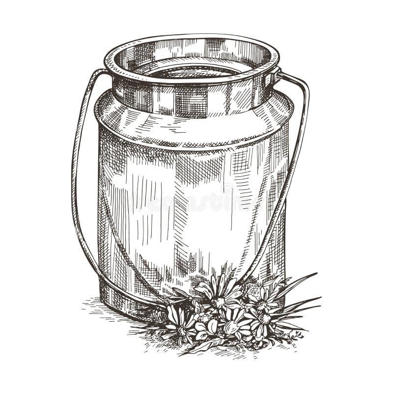 Vektorbilden av mjölkar kan och vildblommor Skissa stilteckningen royaltyfri illustrationer