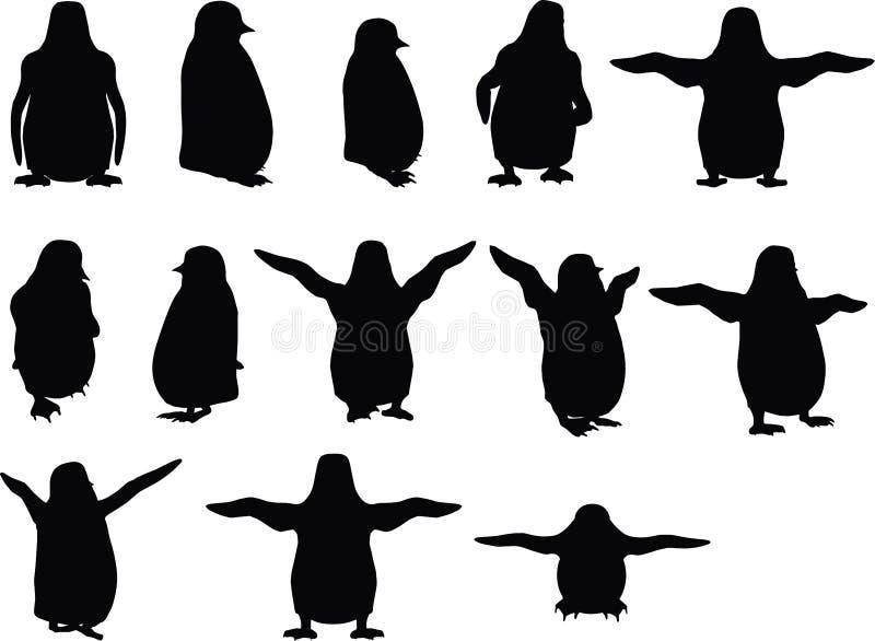 Vektorbilden - behandla som ett barn den djura pingvinkonturn på vit bakgrund vektor illustrationer