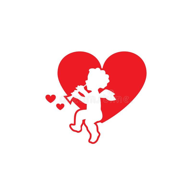 Vektorbilden som kärleksaffären sitter på hjärta vektor illustrationer