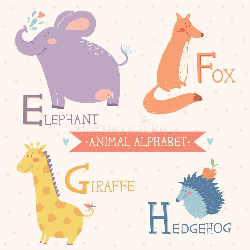vektorbilder auf weißem Hintergrund Elefant, Fox, Giraffe, Igeles Teil 2 lizenzfreie abbildung