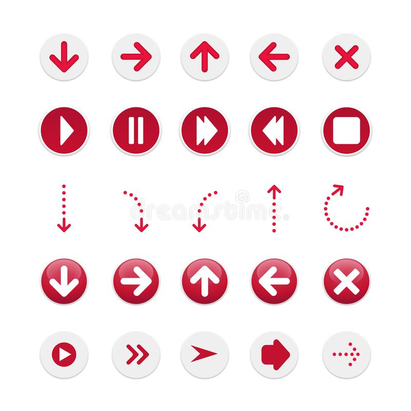 Vektorbilder av pilar Pilar för baner Moderiktiga stilfulla röda pilar för knappar eller website, för din design Röda och vita he vektor illustrationer