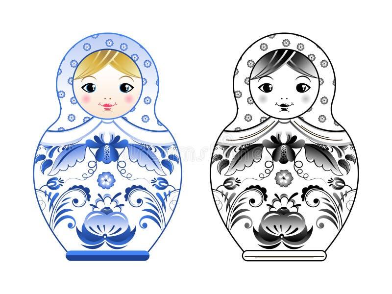 Vektorbilder av ryssmatryoshkaen som målas på gzhel, utformar Kulöra och linjära illustrationer stock illustrationer