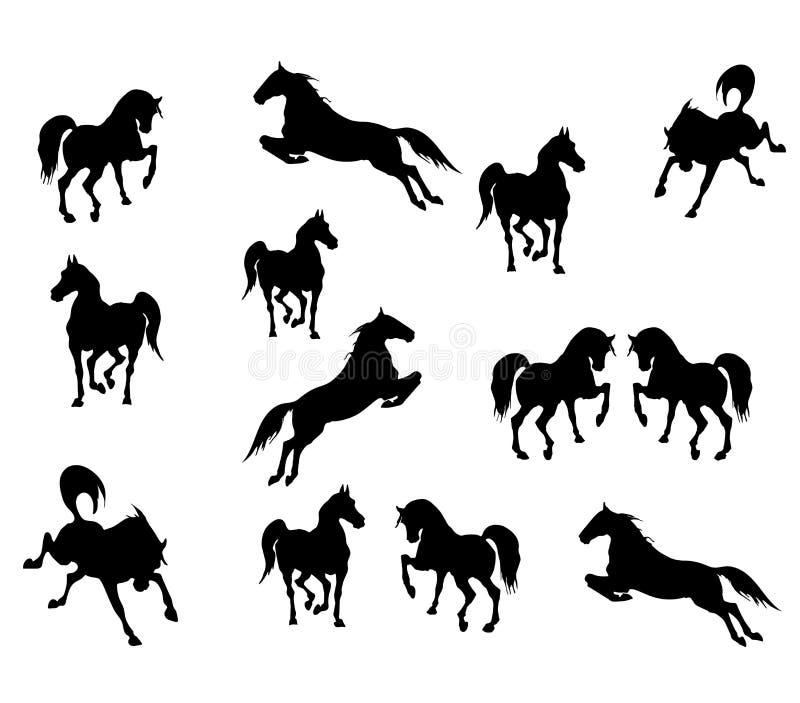 Vektorbilder av svarta isolatedkonturer av sportar som galopperar och hoppar hästar på vit bakgrund vektor illustrationer