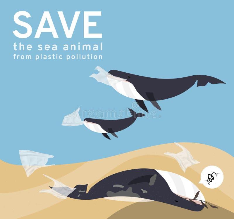 Vektorbilder reflekterar aktuella sociala problem, val för marin- förorening för att äta plastpåsar och avskräde i havet och att  royaltyfri illustrationer