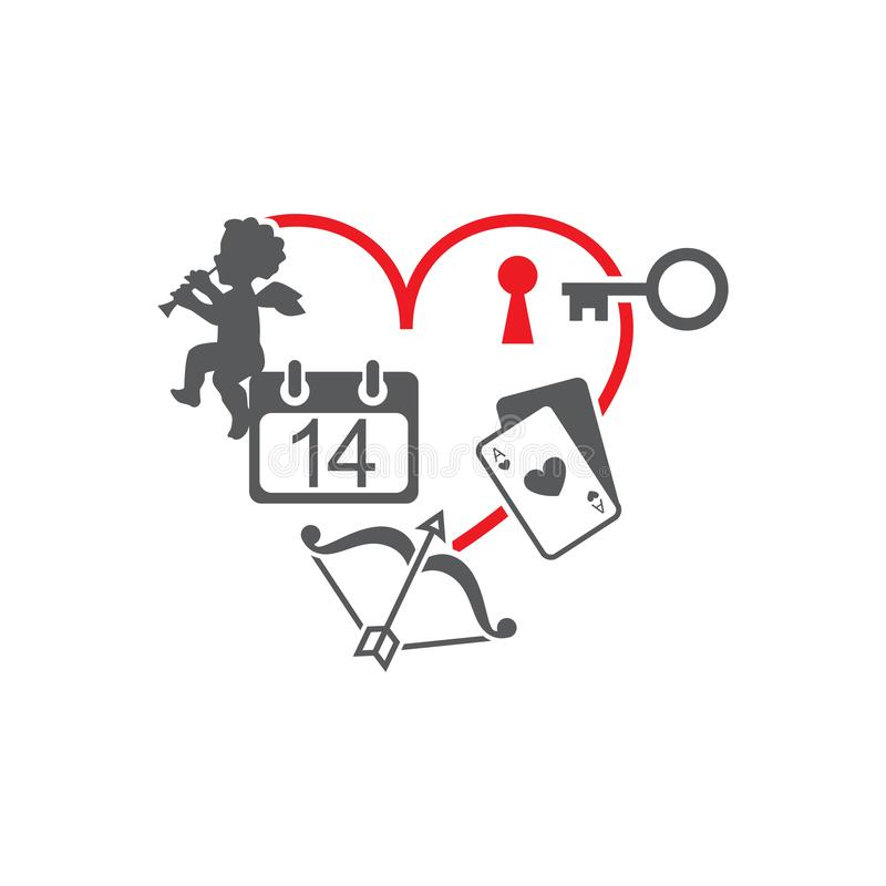 Vektorbildhjärtan och en tangent till låset, kalendern, en ängel, lökar med en pil, spela kort royaltyfri illustrationer
