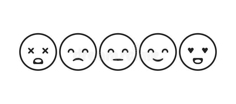 Vektorbildmenge Emoticons für das Veranschlagen oder Feedback emoticons stock abbildung