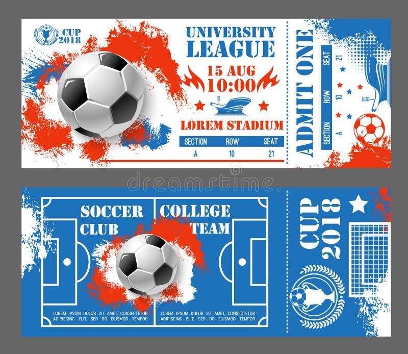 Vektorbiljetter av fotbollfotbollvärldscupen 2018 vektor illustrationer