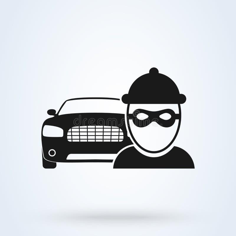 Vektorbiltjuv Icon Tjuven stjäler bilen, försäkring Plan designvektorillustration stock illustrationer