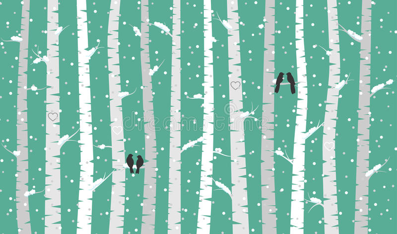 Vektorbjörk eller Aspen Trees med snö- och förälskelsefåglar royaltyfri illustrationer