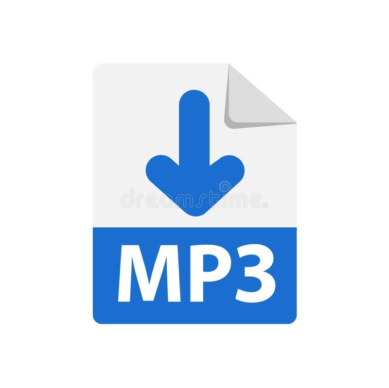Vektorblå ikon MP3 Ikon för filformatstillägg royaltyfri illustrationer