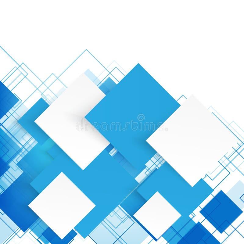 Vektorblåttfyrkanter abstrakt bakgrund stock illustrationer
