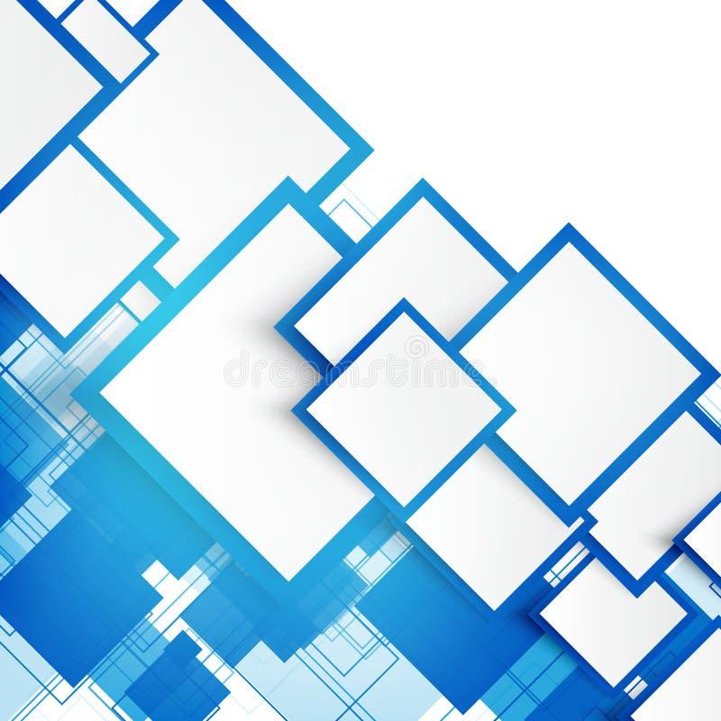 Vektorblåttfyrkanter abstrakt bakgrund vektor illustrationer