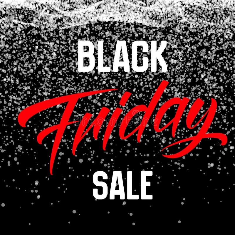 VektorBlack Friday Sale bakgrund med glänsande snöflingor som ner faller Vektorillustration på darkbackground stock illustrationer