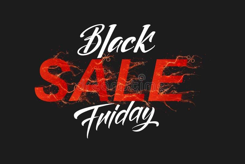 VektorBlack Friday Sale text med röd brand flammar bakgrund Krabba trådar från röda bokstäver Varm svart fredag försäljning vektor illustrationer