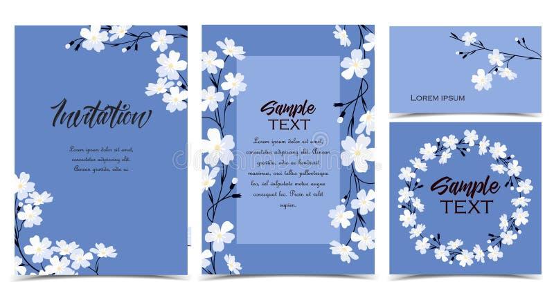 Vektorblau vergisst mich nicht Blumen stock abbildung