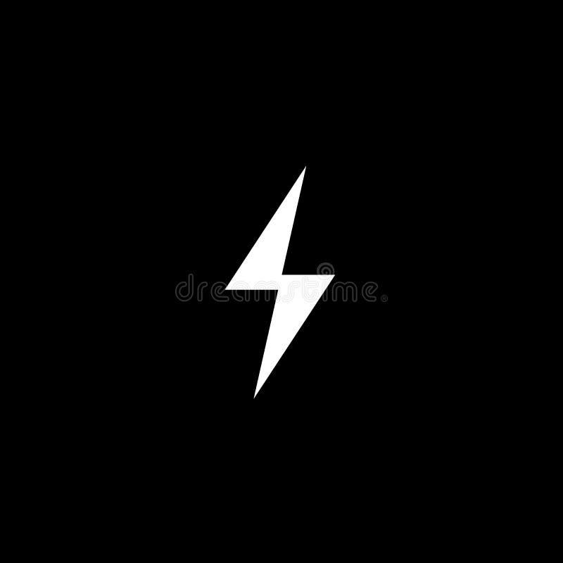 Vektorblitz-Schattenbildikone elektrisches Zeichenemblem des Bolzensymbols auf schwarzem Hintergrund Abbildung lizenzfreie abbildung