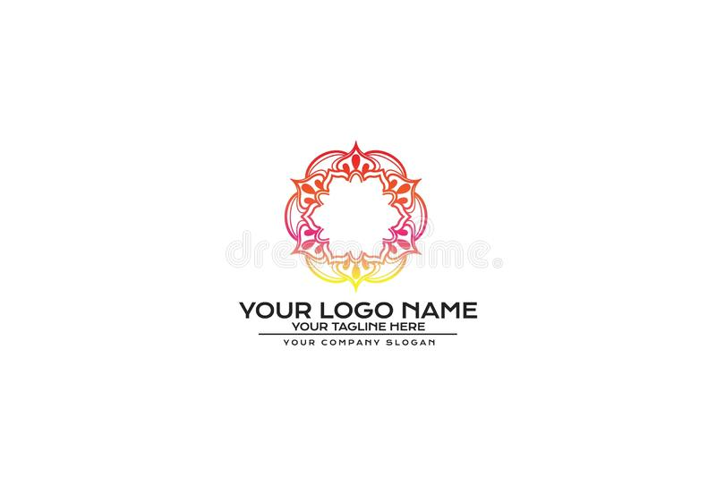 Vektorblomma Mandala Logo Design stock illustrationer