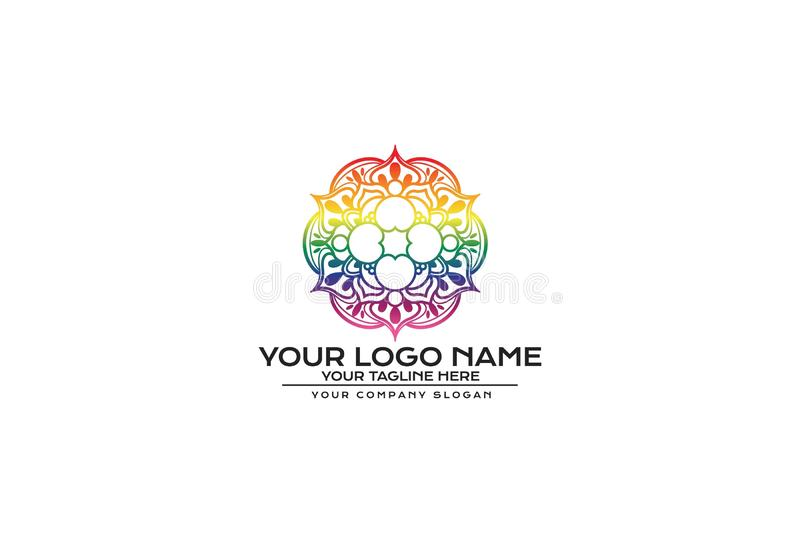 Vektorblomma Mandala Logo Design royaltyfri illustrationer