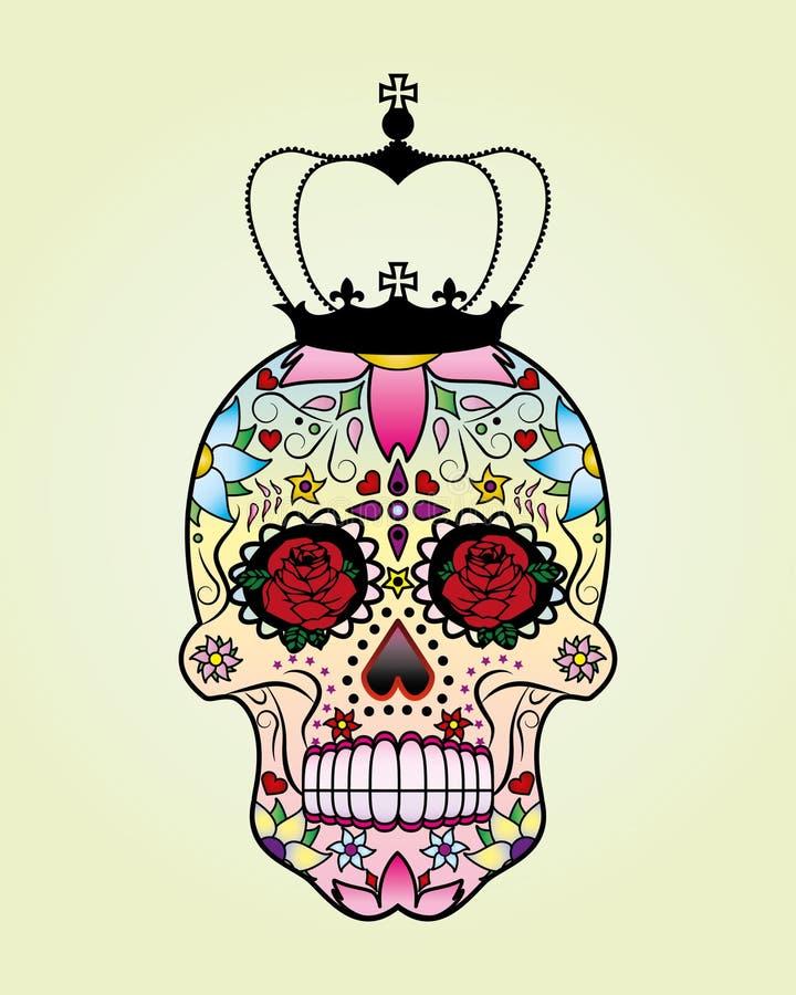 Vektorblommaskalle med kronan royaltyfri illustrationer