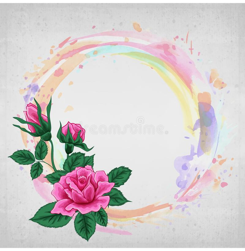 Vektorblumen, Kreisrahmen Die Rosen auf dem Aquarell stock abbildung