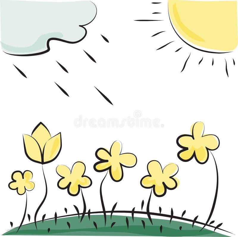 Vektorblumen, -sonne und -wolke stock abbildung