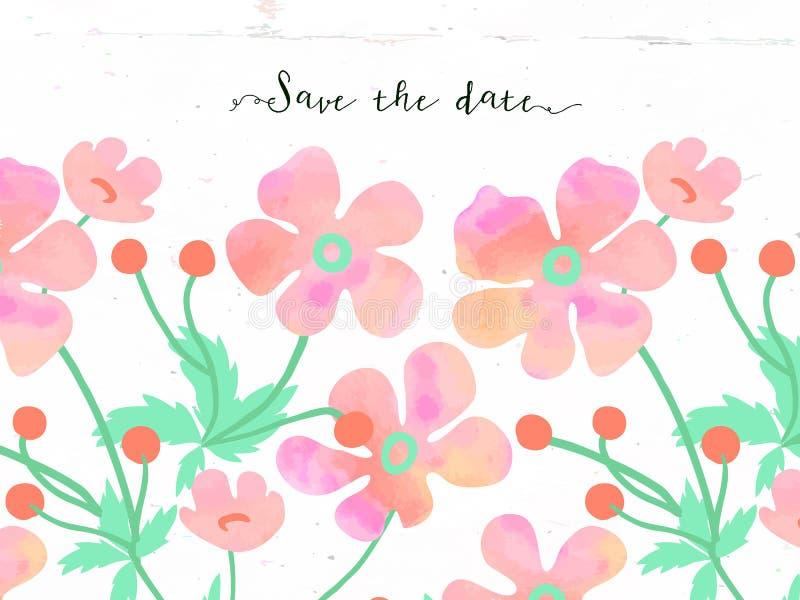 Vektorblumenkarte mit weichen Aquarellblumen lizenzfreie abbildung