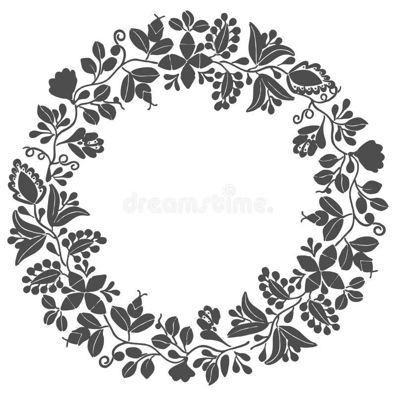 Vektorblumenkranzrahmen auf weißem Hintergrund stock abbildung