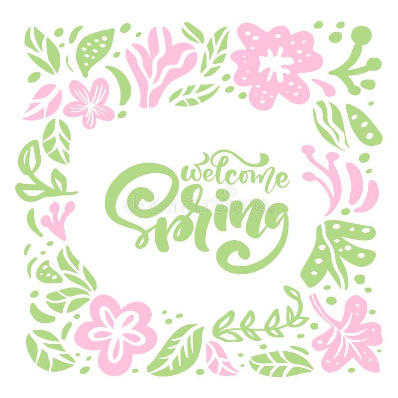 Vektorblumenrahmen für Grußkarte mit handgeschriebener Text willkommenem Frühling Lokalisierte flache skandinavische Illustration stock abbildung