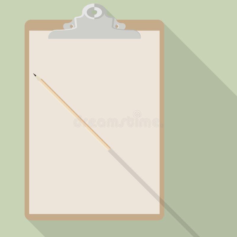 Vektorblyertspenna och tomt ark av kraft papper på skrivplattan royaltyfri illustrationer