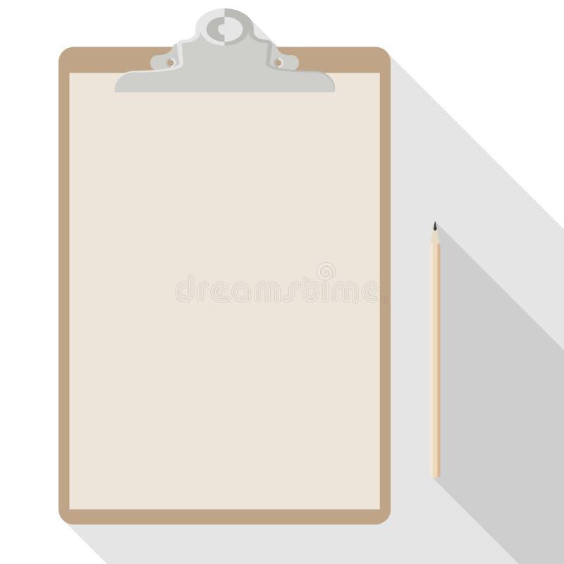 Vektorblyertspenna och tomt ark av kraft papper A4 på skrivplattan vektor illustrationer