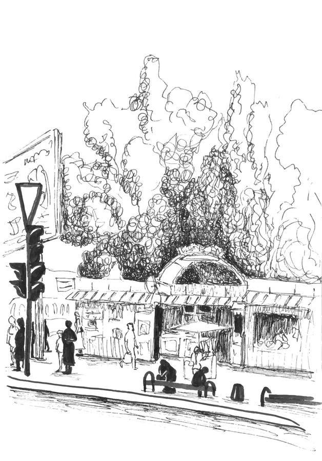 Vektorblyertspennan skissar av stadsplats stock illustrationer
