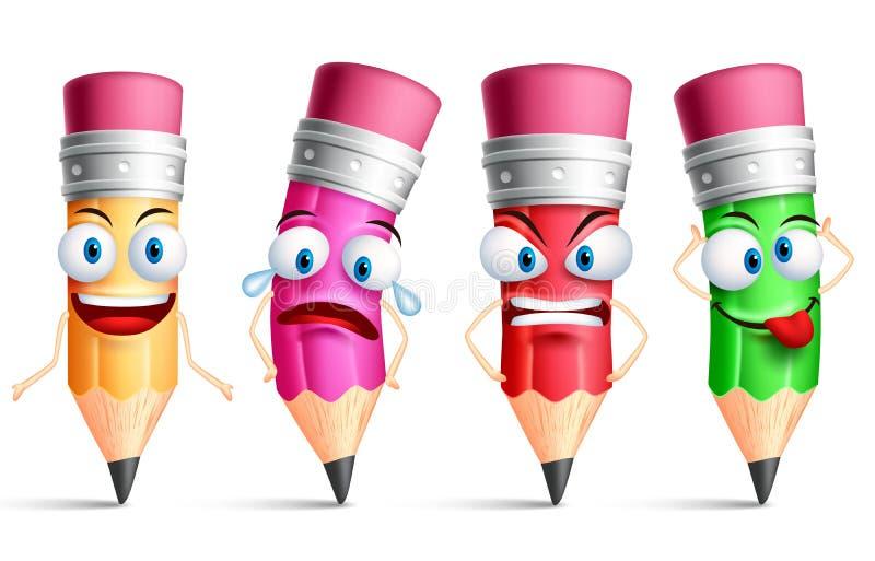 Vektorblyertspennatecken eller färgrik uppsättning för maskot med ansiktsuttryck royaltyfri illustrationer