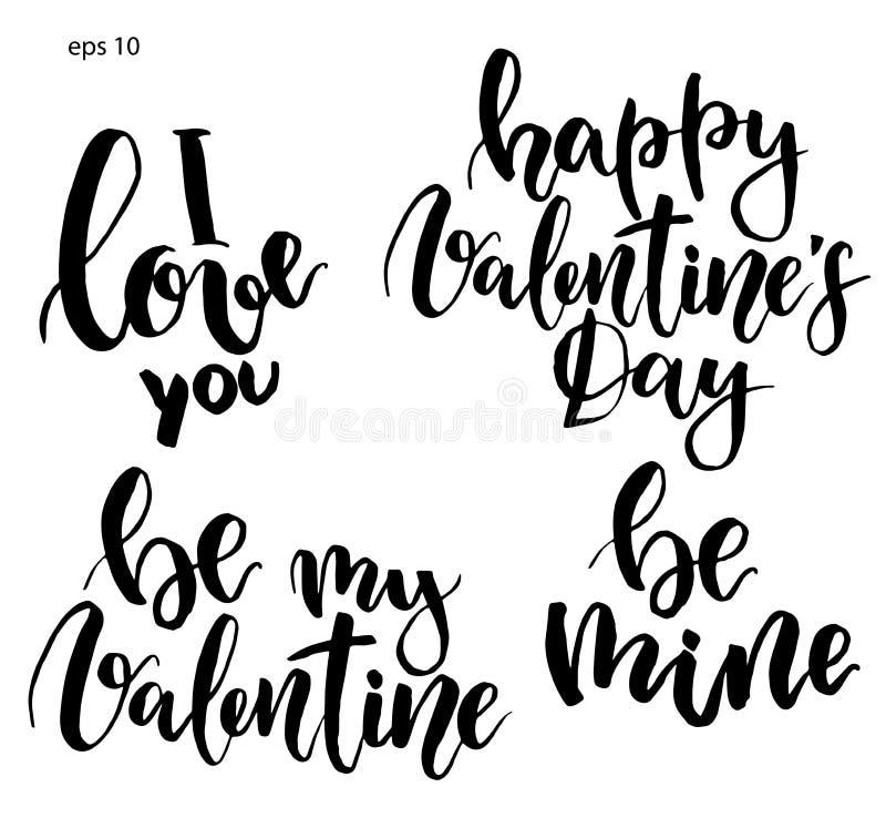 Vektorbokstäver Hand målat uttryck: Jag älskar dig, är min valentin, är minen, lycklig dag för valentin` s Ferietryck stock illustrationer