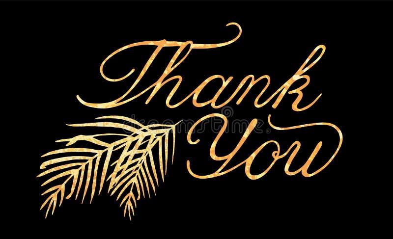 Vektorbokstäver tackar dig med textur för guld- folie royaltyfri illustrationer