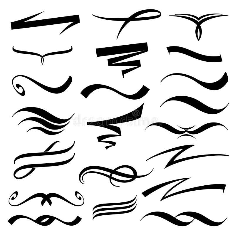 Vektorbokstäver understryker samlingen vektor illustrationer