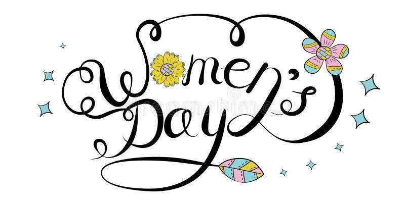 Vektorbokstäverhand som dras på en vit bakgrund Internationell dag för kvinnor s på mars 8 stock illustrationer