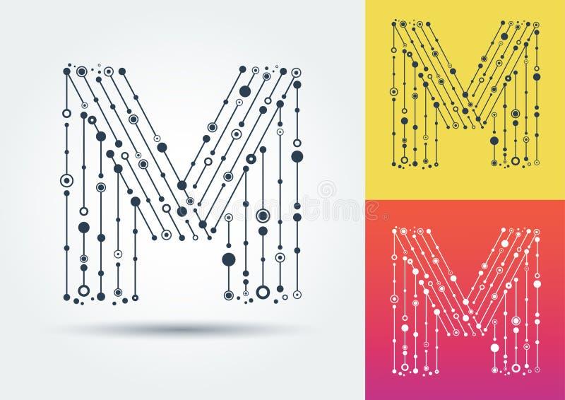 Vektorbokstav M Isolerat och redigerbart tecken i stilen av stock illustrationer