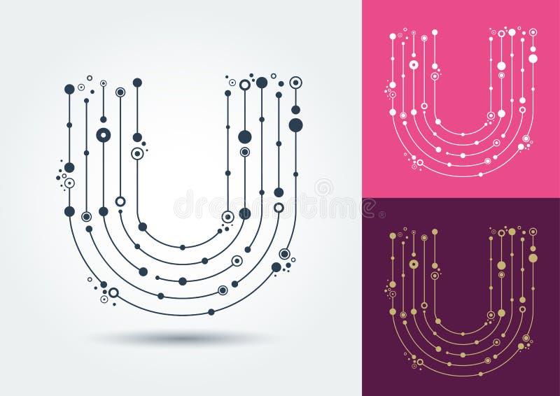 Vektorbokstav U Isolerat och redigerbart tecken i stilen av vektor illustrationer