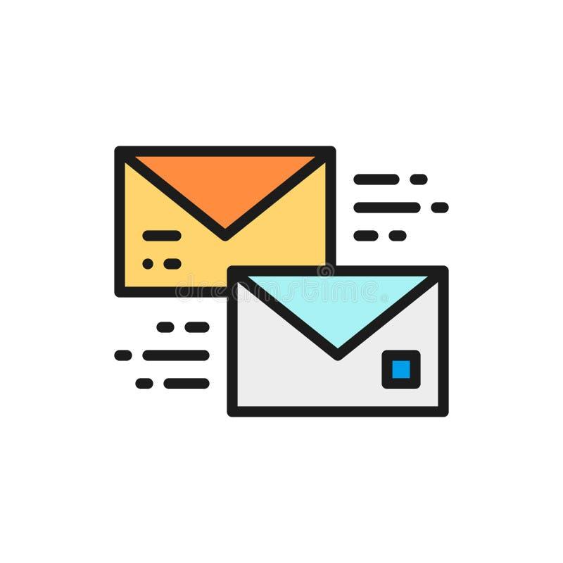 Vektorbokstaven, mottar och överför en meddelandebubbla, den plana färglinjen symbol för messaging vektor illustrationer