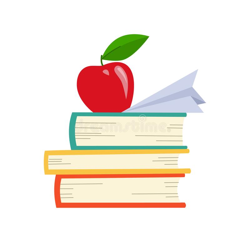 Vektorboksymbol Böcker i olika vinklar Bunt av kulöra böcker med äpplet stock illustrationer