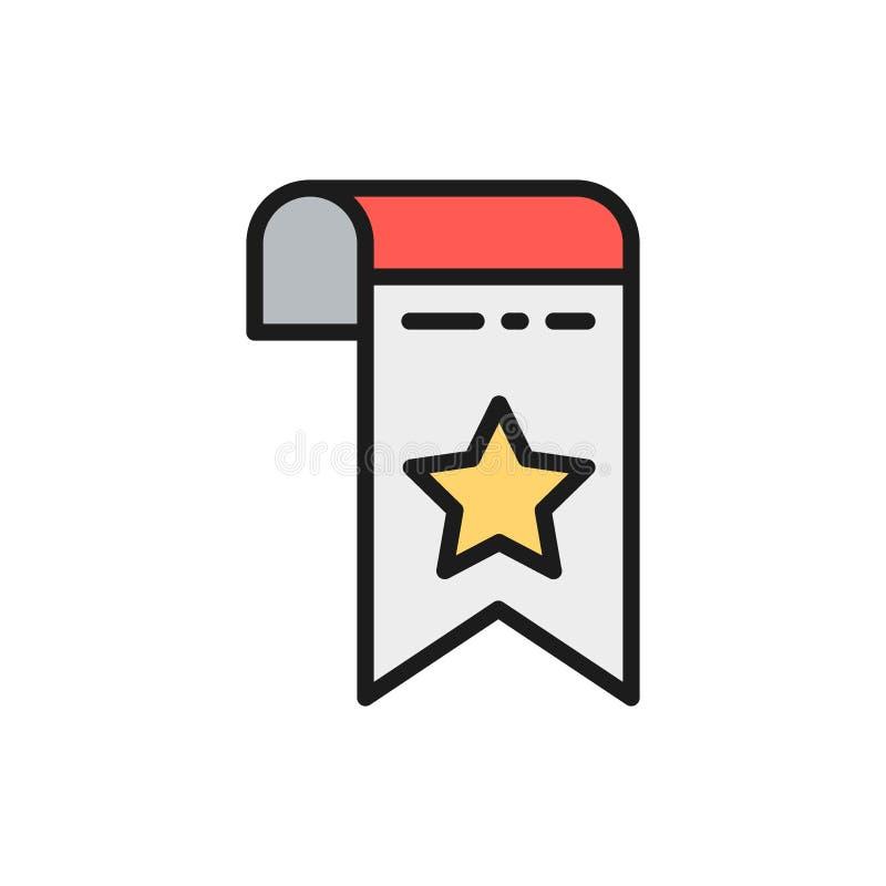 Vektorbookmark, flache Farblinieikone der Webseitenmarkierung stock abbildung