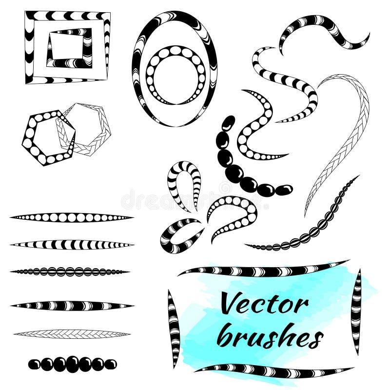 Vektorborsten för idérika illustrationer och modeller i klotter utformar, bohoen, zentagl royaltyfri illustrationer