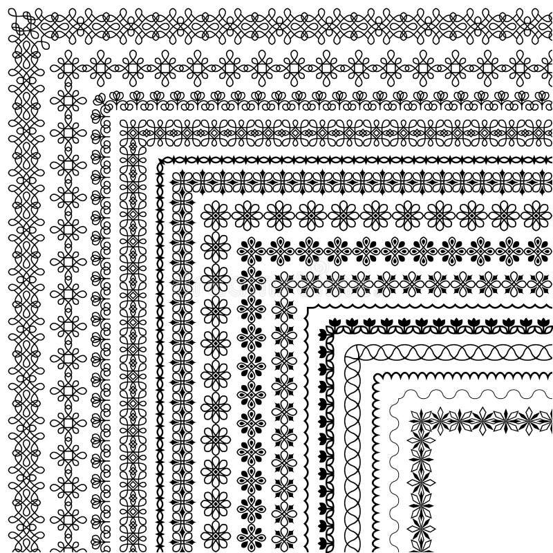 Vektorborsteuppsättning med moderna och klassiska modeller, blom- motiv royaltyfri illustrationer