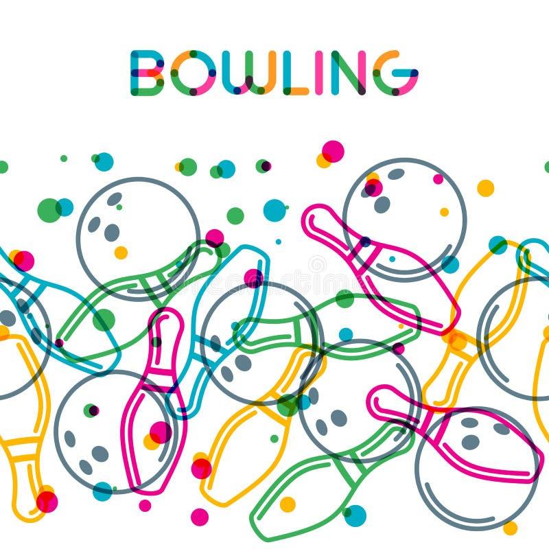 Vektorbowlingbakgrund med linjärt bowlingklot för färg och bowlingben royaltyfri illustrationer