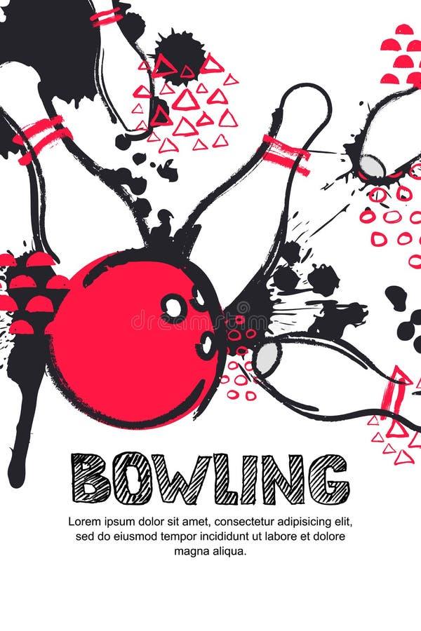 Vektorbowlingspielturnier-Aquarellillustration Plakat, Fahne oder Fliegerdesignschablone vektor abbildung