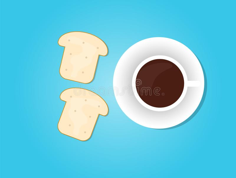 Vektorbröd och kaffe stock illustrationer