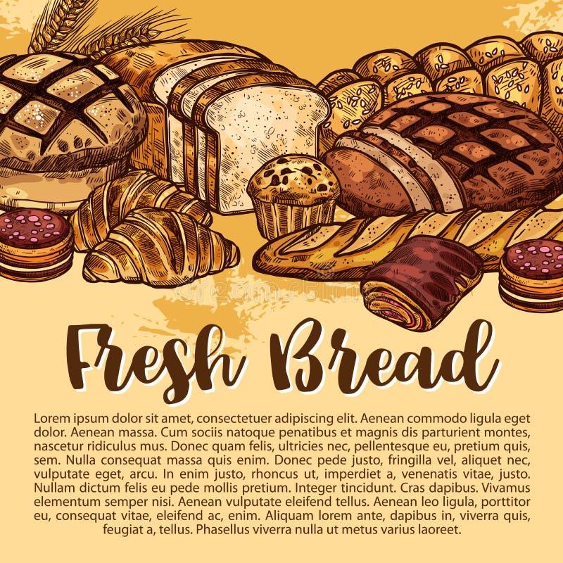 Vektorbröd skissar affischen för bageri shoppar stock illustrationer