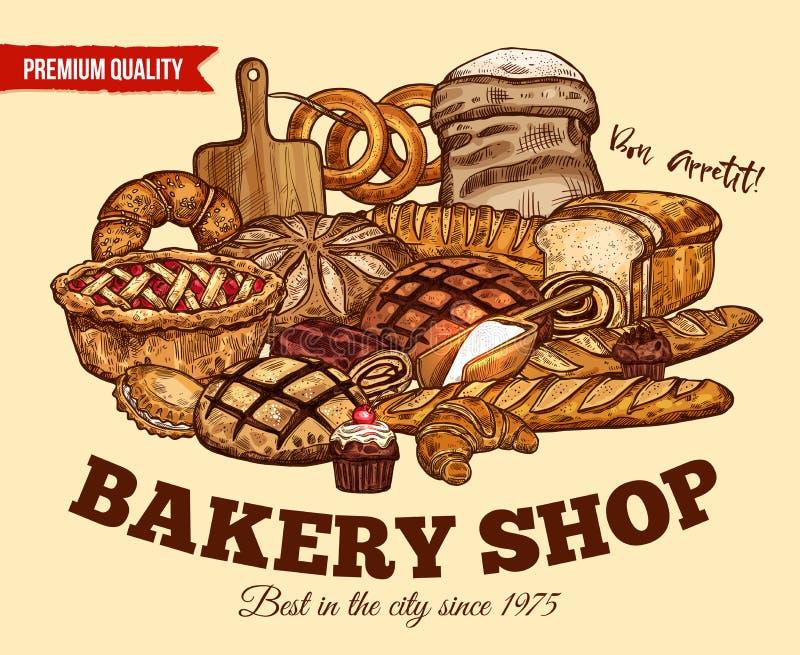 Vektorbröd skissar affischen för bageri shoppar royaltyfri illustrationer