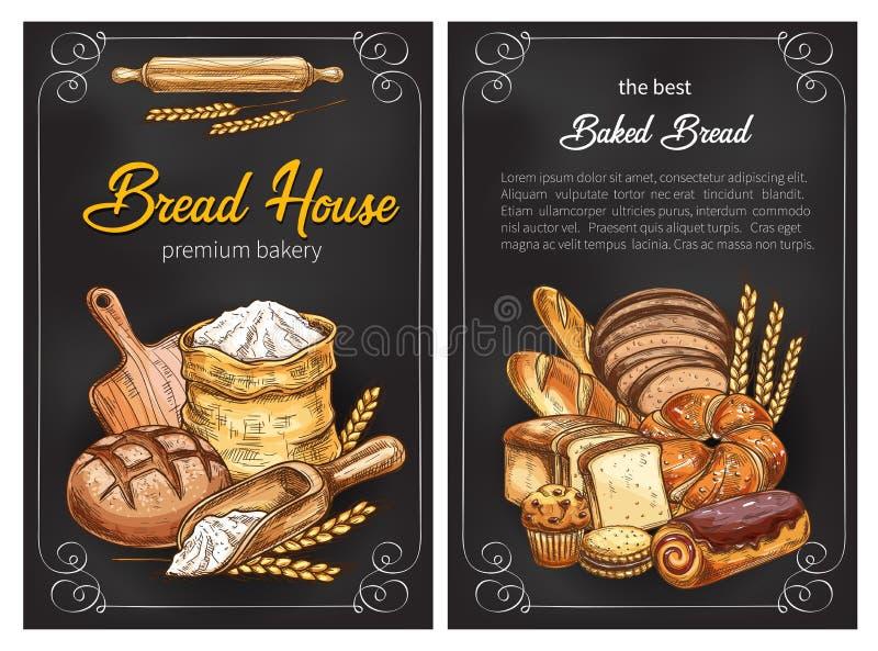 Vektorbröd skissar affischer för högvärdigt bageri royaltyfri illustrationer